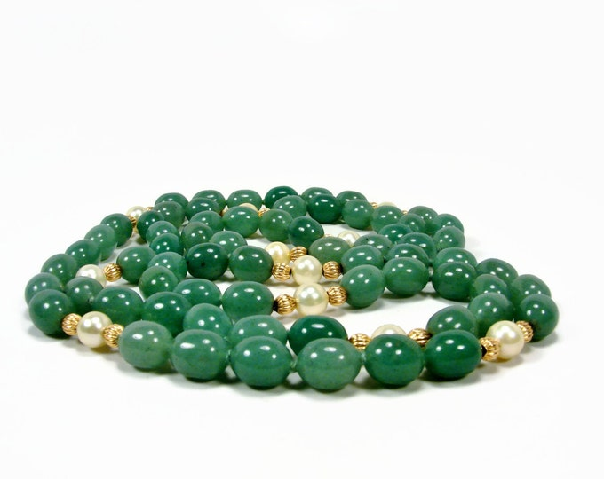 Long Vintage Jade, Pearl & Gold Bead Necklace