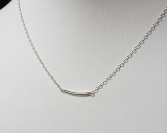 Sterling silver bar tube pendant necklace Minimalist Modern Dainty Jewelry; Layer Necklace