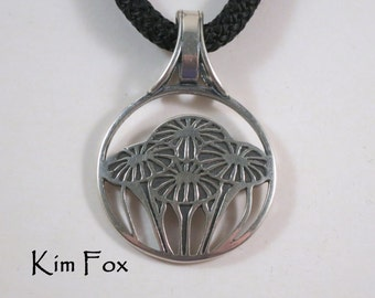 Gift of Love Round Pendant in Sterling Silver - 1 1/2 inches with - two sided pattern of abstract flowers - large bail - art deco