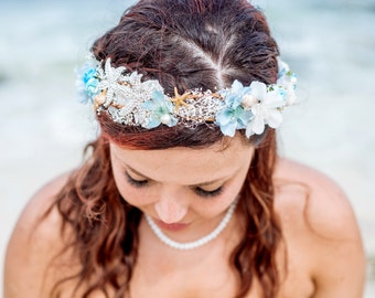 BEACH bridal headband, bridal headband ,SEA BREEZE Beach, Romantic Flower Crown, Ivory Wedding Flower Headband, hair flower, blue,