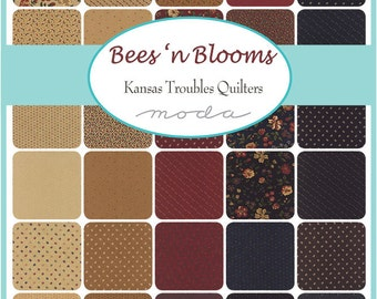 "Moda Bees N Blooms Charm Pack, (42) 5"" Quilt Fabric Squares by Kansas Troubles Quilting Sewing"