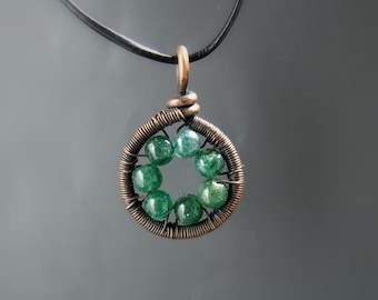 Green aventurine necklace, healing stone jewelry, green stone copper pendant, holistic jewelry