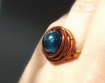 Blue cocktail ring , teal blue jewelry, statement jewelry, statement ring, size 8,5