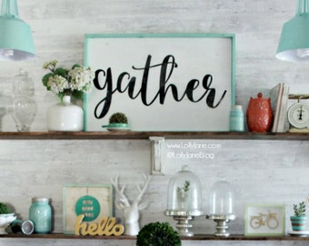 large gather wood sign | rustic sign farmhouse decor