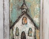 Painting acrylic art church
