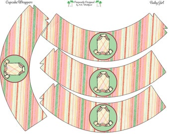 Plaid Onsie Printable Cupcake Wrappers- Printable Party Favors - Instant Download