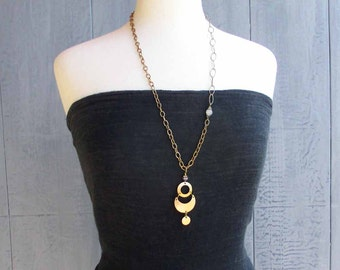 On Sale Gold Tone Phases of the Moon Pendant Necklace Brass Chain Long Necklace Moonstone Wiccan Jewelry Crescent Moon Goddess Asymmetrical