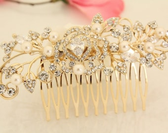 Bridal hair comb gold,Wedding hair comb pearl,Wedding accessories,Wedding hair piece,Bridal hair accessories,Wedding comb gold,Bridal comb
