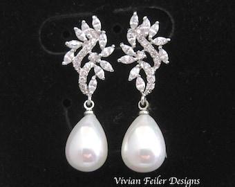 BRIDAL Earrings PEARL Tear Drop Wedding Jewelry Bridal Pearl Earrings Cubic Zirconia Bridesmaid Gift Prom