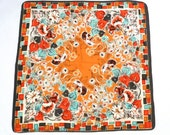 Atomic Floral Scarf Vintage Orange Mod Flower Scarf 1950s 1960s Calla Lilly Morning Glory Daisy Tile Square Border Print Scarf Wallpaper