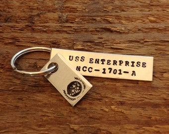 Hand stamped Star Trek inspired keychain