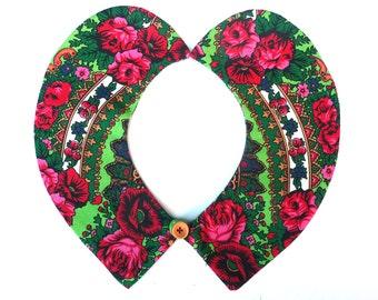 Peter Pan Collar, Detachable Collar, Collar Necklace, Blouse Collar, Floral Collar, green, white