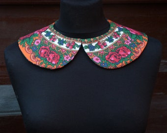 Peter Pan Collar, Detachable Collar, Collar Necklace, Blouse Collar, Floral Collar, orange,milkwhite