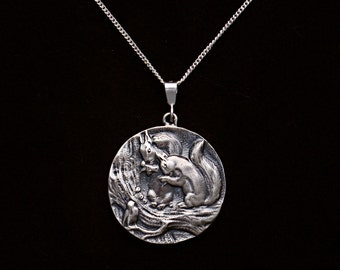 """Sterling silver Scenic squirrel pendant vintage woodland creatures 18"""" chain story book scene"""