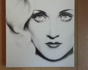 Carole Lombard artist print on canvas 14x14 wall art portrait