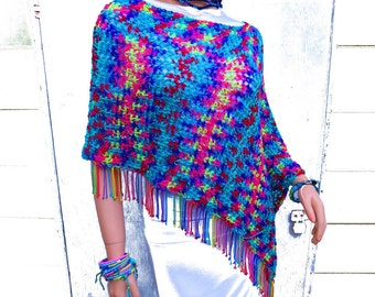 Summer Poncho, Asymmetrical Fringed Poncho, Tie Dye Look Rainbow Poncho, Women's Poncho, Boho Clothing, Plus Size, Hippie Clothes, Festival