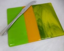 Fused Glass Cheese Board in Spring Green and Yellow Speciality Glass, sushi, charcuterie or fruit platter
