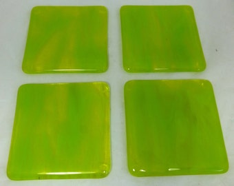 Fused Glass Coasters with Zingy Lime Green- set of 4