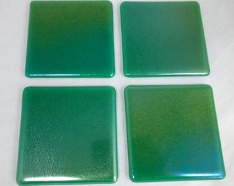 Fused Glass Coasters with Iridescent Sea Green - set of 4
