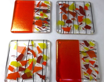 Fused Glass Coasters with Bright Sunshine Colours with Orange Iridescence - set of 4