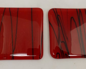 Fused Glass Coasters rich red and black - set of two