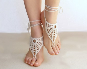 Ivory barefoot sandals, nude shoes, barefoot sandles, foot jewelry, wedding, victorian lace, yoga, bellydance. Valentines Day Women's gift