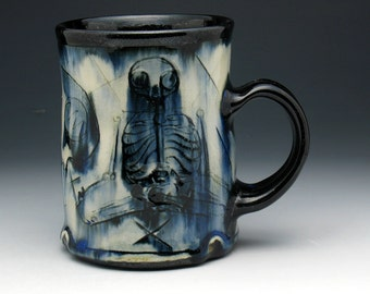 Skeleton Mug, Meditating Skeletons & Skull Tankard