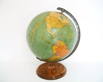 Vintage World Globe Art Deco c 1948 Crams