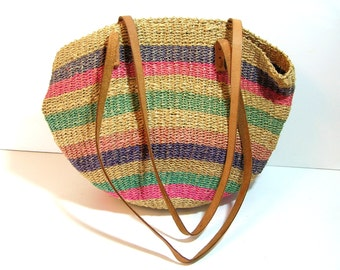 Vintage Hippie Purse Woven Jute And Leather