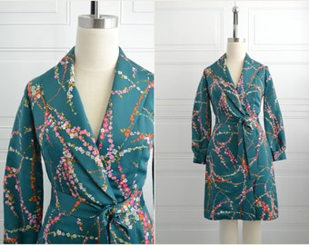 1960s Floral Satin Wrap Dress