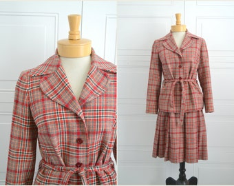 1960s Pendleton Wool Plaid Skirt Suit