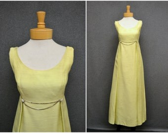 1960s Yellow Green Formal Dress