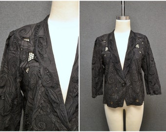 1980s Black Battenburg Lace Jacket