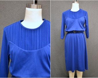 1980s Blair Royal Blue Dress with Pintuck Detail