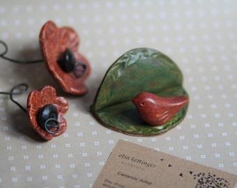 Red Bird Business Card Holder