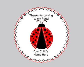 Set of 16 Personalized Birthday Favor Tags, Birthday Gift Bags and Tags, Red Ladybug Tags and Bags