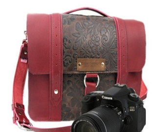 """10"""" Red and Brown Paisley Napa Safari Leather Camera Bag -  10-ASH-REBP-SMCAM"""