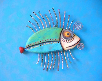 Green Sea Bass, Original Found Object Wall Sculpture, Wood Carving, Wall Decor, by Fig Jam Studio