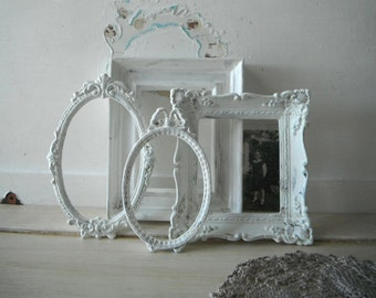 petite frames aged white picture frames french country gallery frames ornate frames cottage chic rustic aged patina frames OPEN frames 4 pc