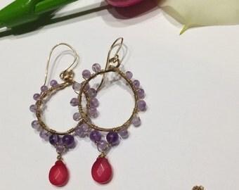 Amethyst wire wrap earrings