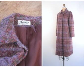 1970s plum wool boucle ladies tweed coat - muted plaid wool coat / Bromley - B. Altman's / wine plaid wool coat - vintage plaid coat