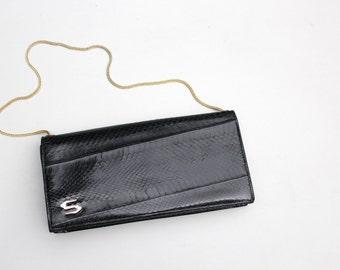 vintage jet black snakeskin clutch - gold chain strap / 70s disco purse - convertible clutch / day to evening handbag - 70s snakeskin purse