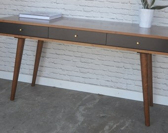 Bloom Desk - Solid Cherry - Teak Finish - Ebony Fronts - Danish Modern Style