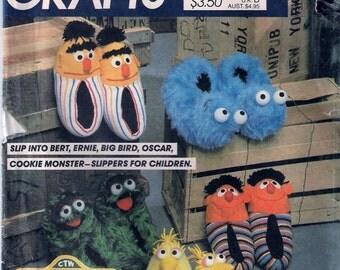 Vintage MCall's 8774 Sesame Street Slippers Sewing Pattern Bert Ernie Big Bird Oscar