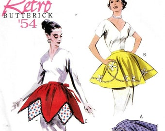 Butterick B5435 Hostess Half APRON Retro Vintage 1950s Sewing Pattern S, M and L