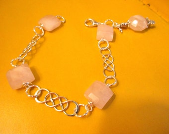 Divine PINK JADE & Sterling INFINITY Links Artisan Silver Link Charm Bracelet - One of a Kind