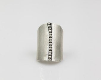 Sterling Silver Beaded Shield Ring