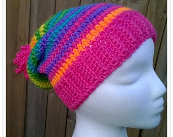 Slouchy Mixed-Up Rainbow Striped Beanie