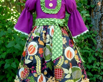 Girl's Thanksgiving Dress - Fall Dress - Size 7 - One of a Kind - OOAK