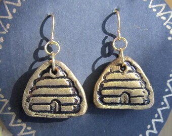 Earrings Beehives in Gold on Black on Hypoallergenic Wires